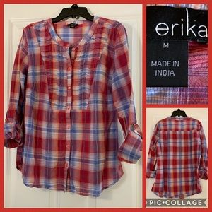 Erica lightweight  cotton plaid button down sz M